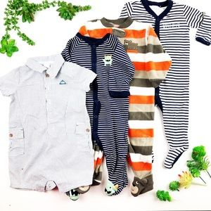Carter's Baby Boy Clothes Footies Bundle 9M